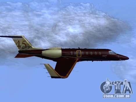 Bombardier Learjet 45 para GTA San Andreas vista direita
