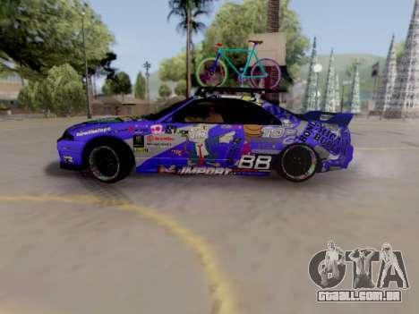 Nissan GT-R R33 HellaFlush V2 para GTA San Andreas traseira esquerda vista