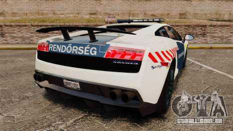 Lamborghini Gallardo Hungarian Police [ELS] para GTA 4 traseira esquerda vista