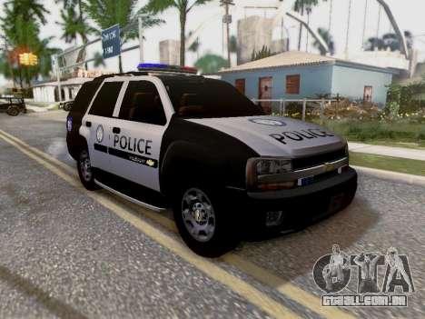 Chevrolet TrailBlazer Police para GTA San Andreas vista inferior