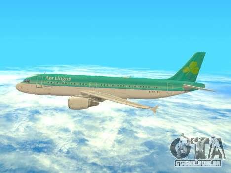 Airbus A320-200 Aer Lingus para GTA San Andreas vista inferior