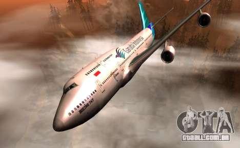 Boeing 747-400 Garuda Indonesia para GTA San Andreas vista traseira