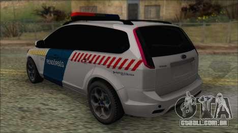 Ford Focus 2008 Station Wagon Hungary Police para GTA San Andreas traseira esquerda vista