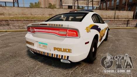 Dodge Charger 2013 Liberty University Police ELS para GTA 4 traseira esquerda vista