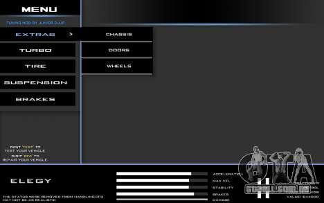 Tuning Mod 0.9 para GTA San Andreas segunda tela