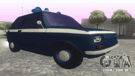 Fiat 126p milicja para GTA San Andreas traseira esquerda vista