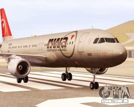 Airbus A320 NWA para GTA San Andreas traseira esquerda vista