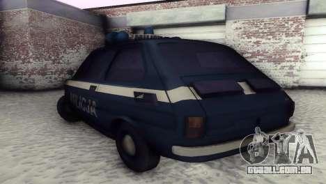 Fiat 126p milicja para GTA San Andreas vista traseira