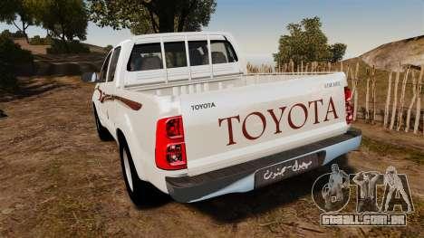 Toyota Hilux 2014 para GTA 4 traseira esquerda vista