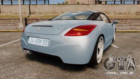Peugeot RCZ para GTA 4 traseira esquerda vista