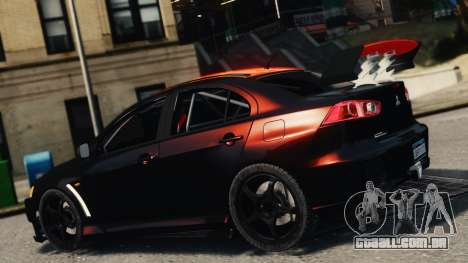 Mitsubishi Lancer Evolution X 2008 Black Edition para GTA 4 esquerda vista