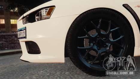 Mitsubishi Lancer Evolution X 2008 para GTA 4 vista direita