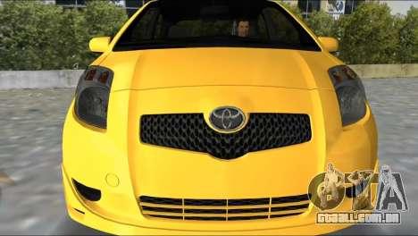 Toyota Yaris para GTA Vice City deixou vista