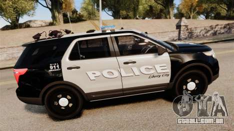 Ford Explorer 2013 LCPD [ELS] Black and Gray para GTA 4 esquerda vista
