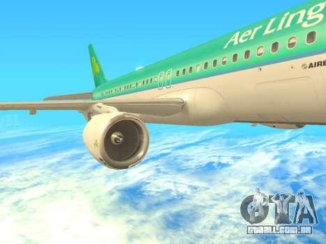 Airbus A320-200 Aer Lingus para vista lateral GTA San Andreas