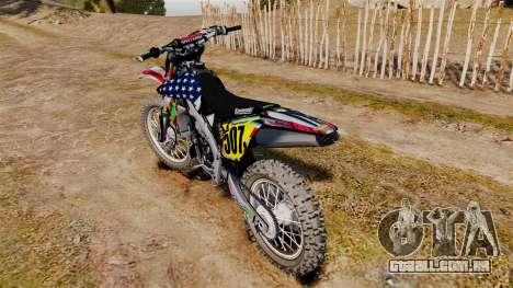 Kawasaki KX250F Monster KX USA para GTA 4 vista direita