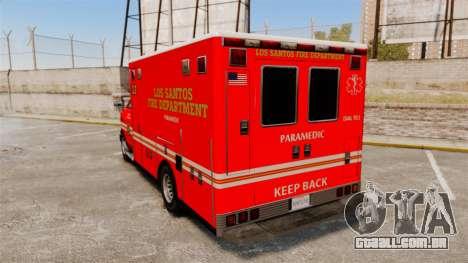 Brute LSFD Paramedic para GTA 4 traseira esquerda vista