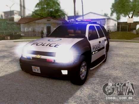 Chevrolet TrailBlazer Police para GTA San Andreas esquerda vista