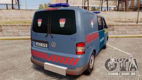 Volkswagen Transporter T5 Hungarian Police [ELS] para GTA 4 traseira esquerda vista