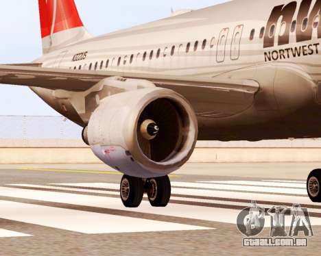 Airbus A320 NWA para GTA San Andreas vista direita