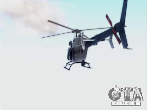 Bell 407 SAPD para GTA San Andreas traseira esquerda vista