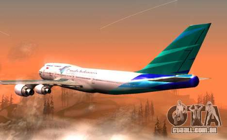 Boeing 747-400 Garuda Indonesia para GTA San Andreas vista direita