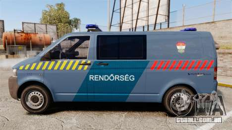 Volkswagen Transporter T5 Hungarian Police [ELS] para GTA 4 esquerda vista