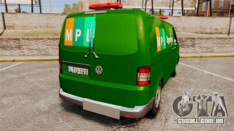 Volkswagen Transporter T5 Hungarian Post [ELS] para GTA 4 traseira esquerda vista