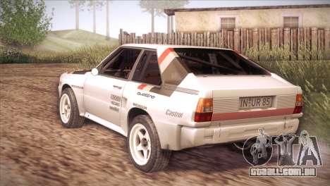 Audi Sport Quattro 1984 para GTA San Andreas traseira esquerda vista
