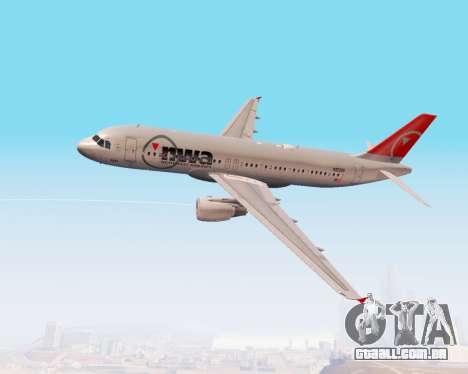 Airbus A320 NWA para vista lateral GTA San Andreas