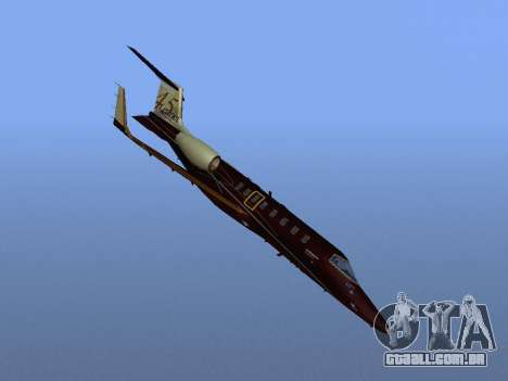 Bombardier Learjet 45 para vista lateral GTA San Andreas