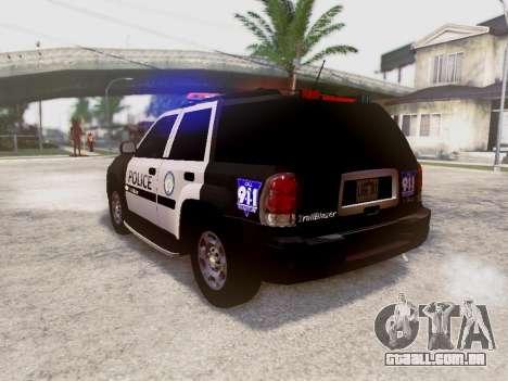 Chevrolet TrailBlazer Police para GTA San Andreas traseira esquerda vista