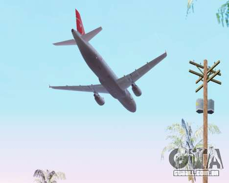Airbus A320 NWA para GTA San Andreas vista superior