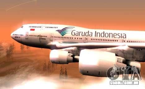 Boeing 747-400 Garuda Indonesia para GTA San Andreas traseira esquerda vista
