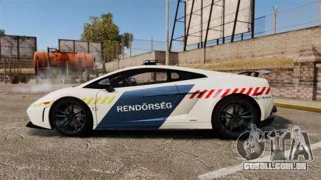 Lamborghini Gallardo Hungarian Police [ELS] para GTA 4 esquerda vista