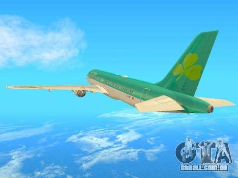 Airbus A320-200 Aer Lingus para GTA San Andreas vista traseira