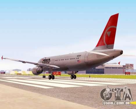 Airbus A320 NWA para GTA San Andreas vista traseira