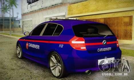 BMW 120i SE Carabinieri para GTA San Andreas traseira esquerda vista