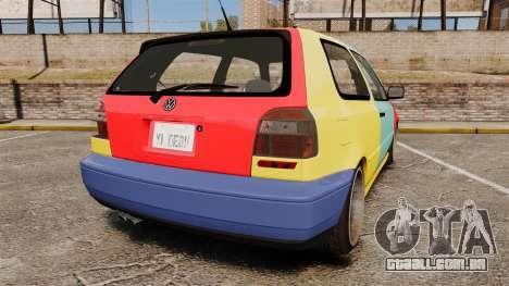 Volkswagen Golf MK3 Harlequin para GTA 4 traseira esquerda vista