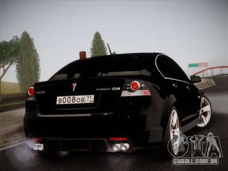 Pontiac G8 GXP 2009 para GTA San Andreas vista interior
