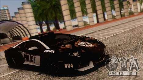 Lamborghini Aventador LP 700-4 Police para GTA San Andreas traseira esquerda vista
