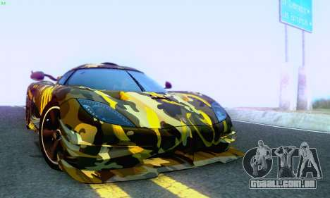 Koenigsegg One 2014 para GTA San Andreas vista superior