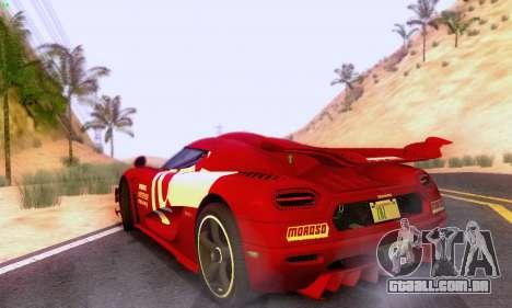 Koenigsegg One 2014 para GTA San Andreas vista traseira