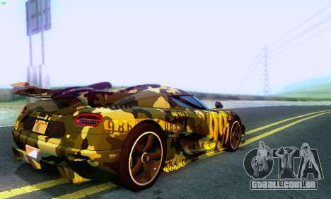 Koenigsegg One 2014 para vista lateral GTA San Andreas