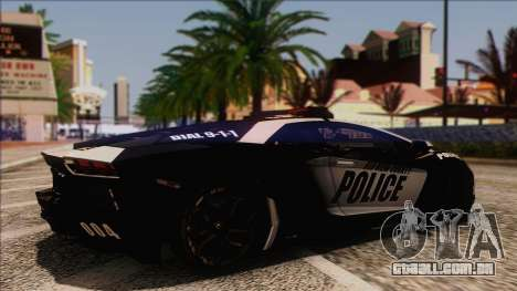 Lamborghini Aventador LP 700-4 Police para GTA San Andreas vista direita