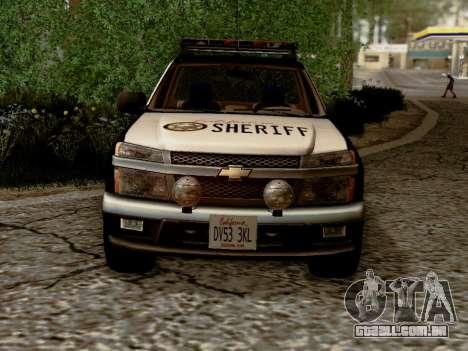 Chevrolet Colorado Sheriff para GTA San Andreas vista interior