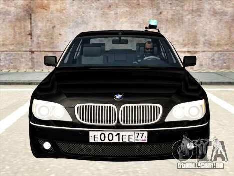 BMW 760Li para GTA San Andreas vista superior