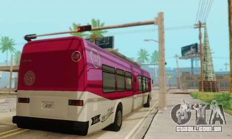 O trânsito de Ônibus из GTA 5 para GTA San Andreas vista traseira