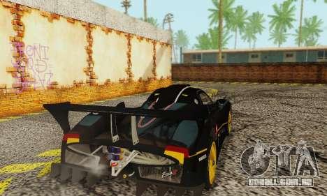 Pagani Zonda Type R Black para GTA San Andreas traseira esquerda vista