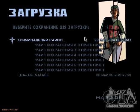 O menu da versão móvel do jogo para GTA San Andreas segunda tela